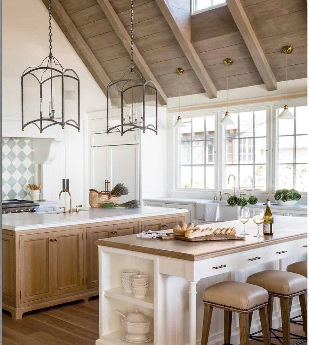 White And Rustic Wood Kitchen With Lantern Pendant Lighting
