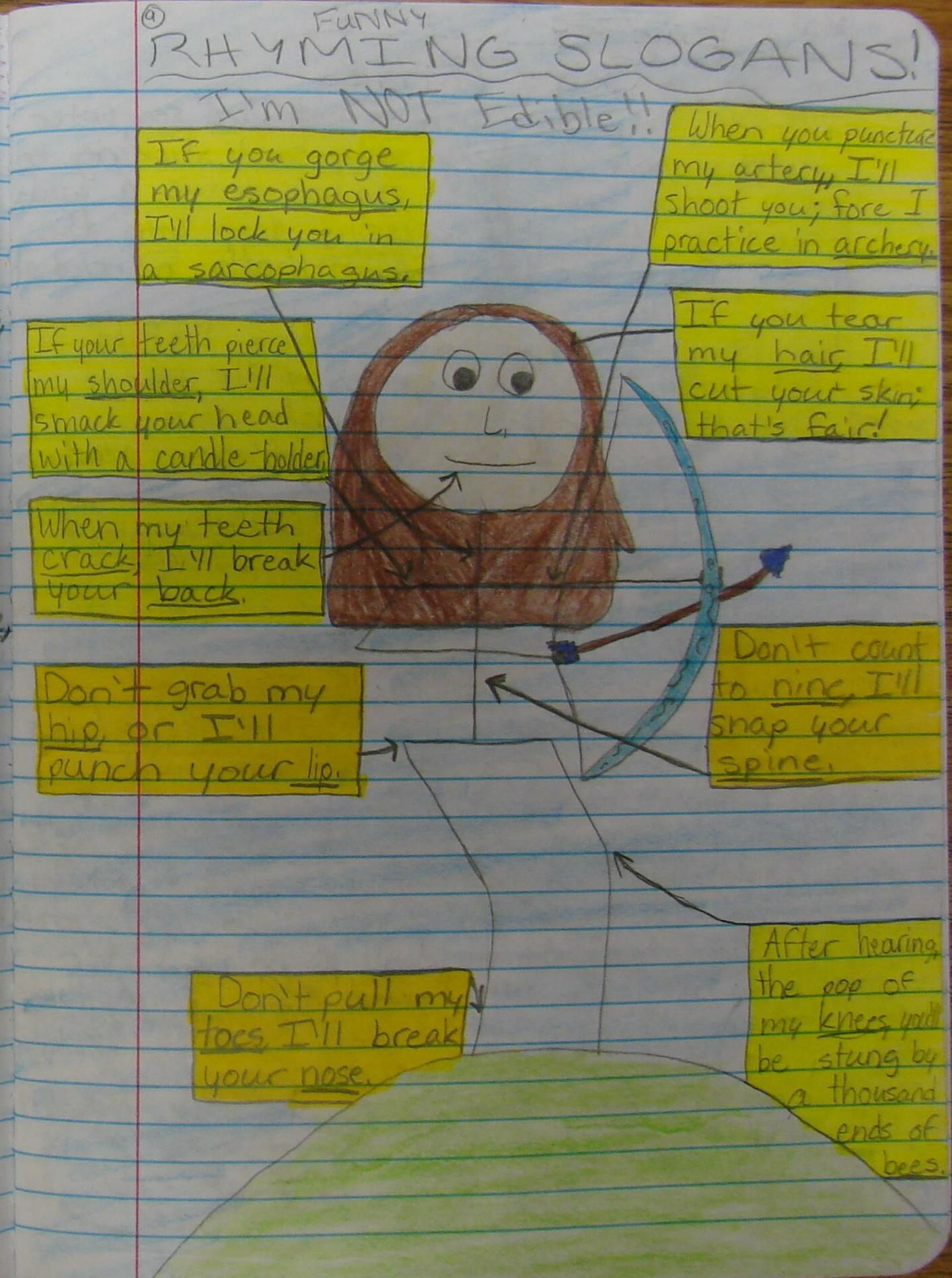 """The """"Center Square Lesson"""" on our March Bingo Card is called """"Rhyming Slogans,"""" and it starts with a funny page assigned in the notebook made up of body part-influenced rhyming couplets. 7th grader Keely based hers on Katniss Everdeen. Check out my writer's notebook resources online: http://corbettharrison.com/writers_notebooks.html"""
