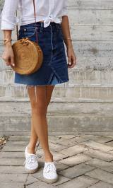 Everyday outfit with a denim skirt and white button down shirt. See more at www.HerStyledView.com