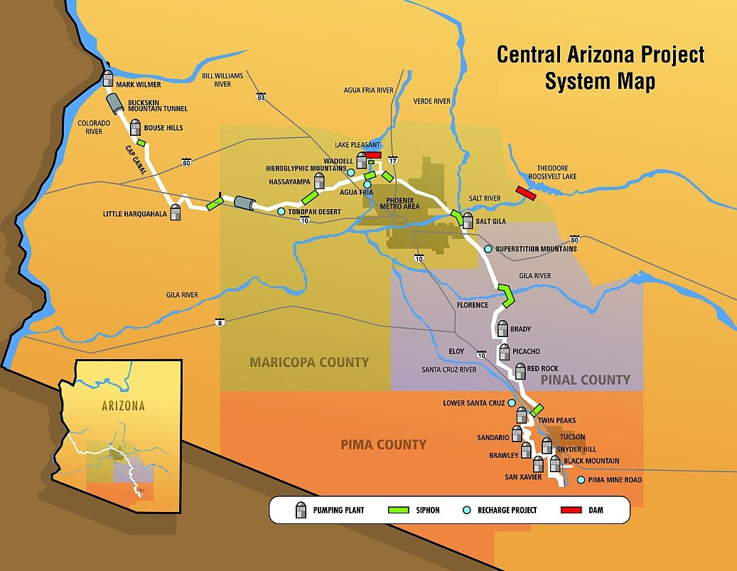 Central Arizona Project Map Central Arizona Project (CAP). The water supply system that made