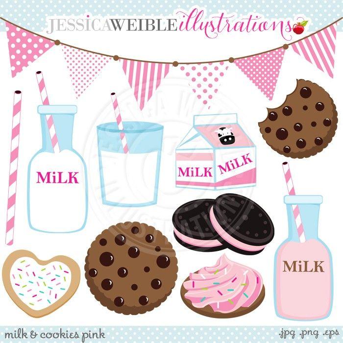 Pink Milk Cookies Digital Clip Art Jw Illustrations Kartinki Kavai