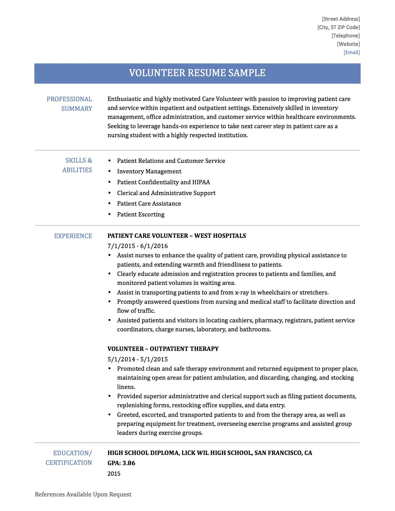Volunteer Resume Samples Work And Experience Professional Hospital