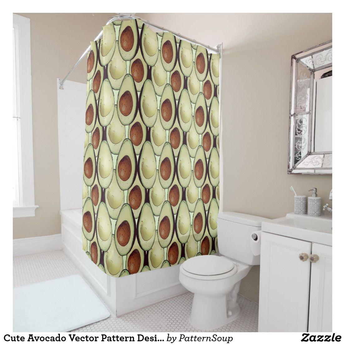 Cute Avocado Vector Pattern Design Shower Curtain Zazzle Ca