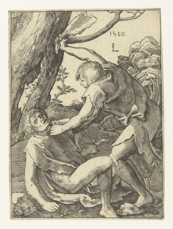 Anonymous | Kaïn doodt Abel, Anonymous, in or after 1520 - c. 1583 | Kaïn met opgeheven stuk kaakbot, Abel op de grond geduwd.