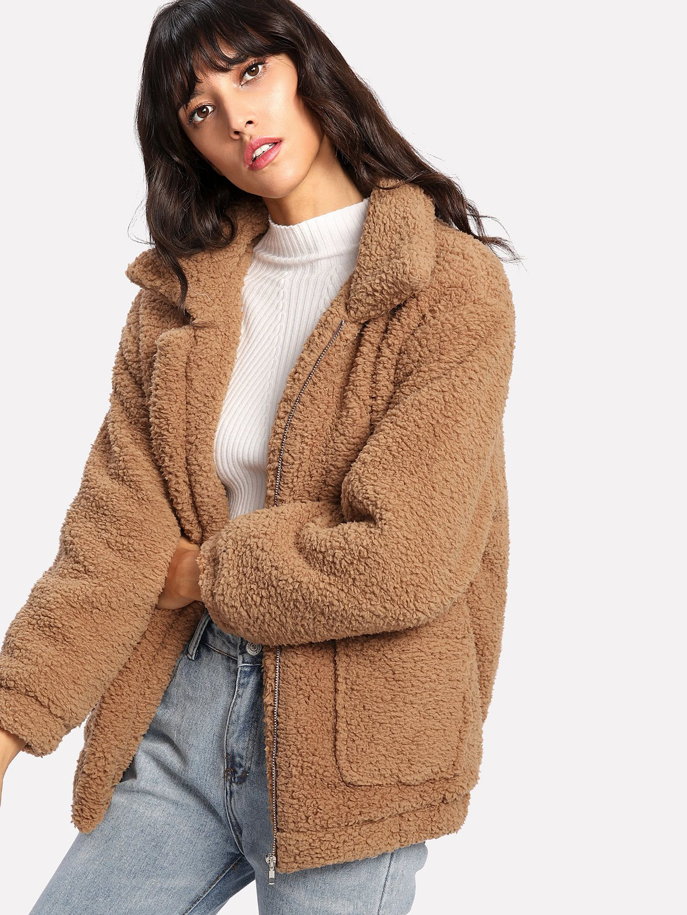 a0b6b7d3d37 Shop Dual Pocket Faux Fur Jacket online. SheIn offers Dual Pocket Faux Fur  Jacket   more to fit your fashionable needs.