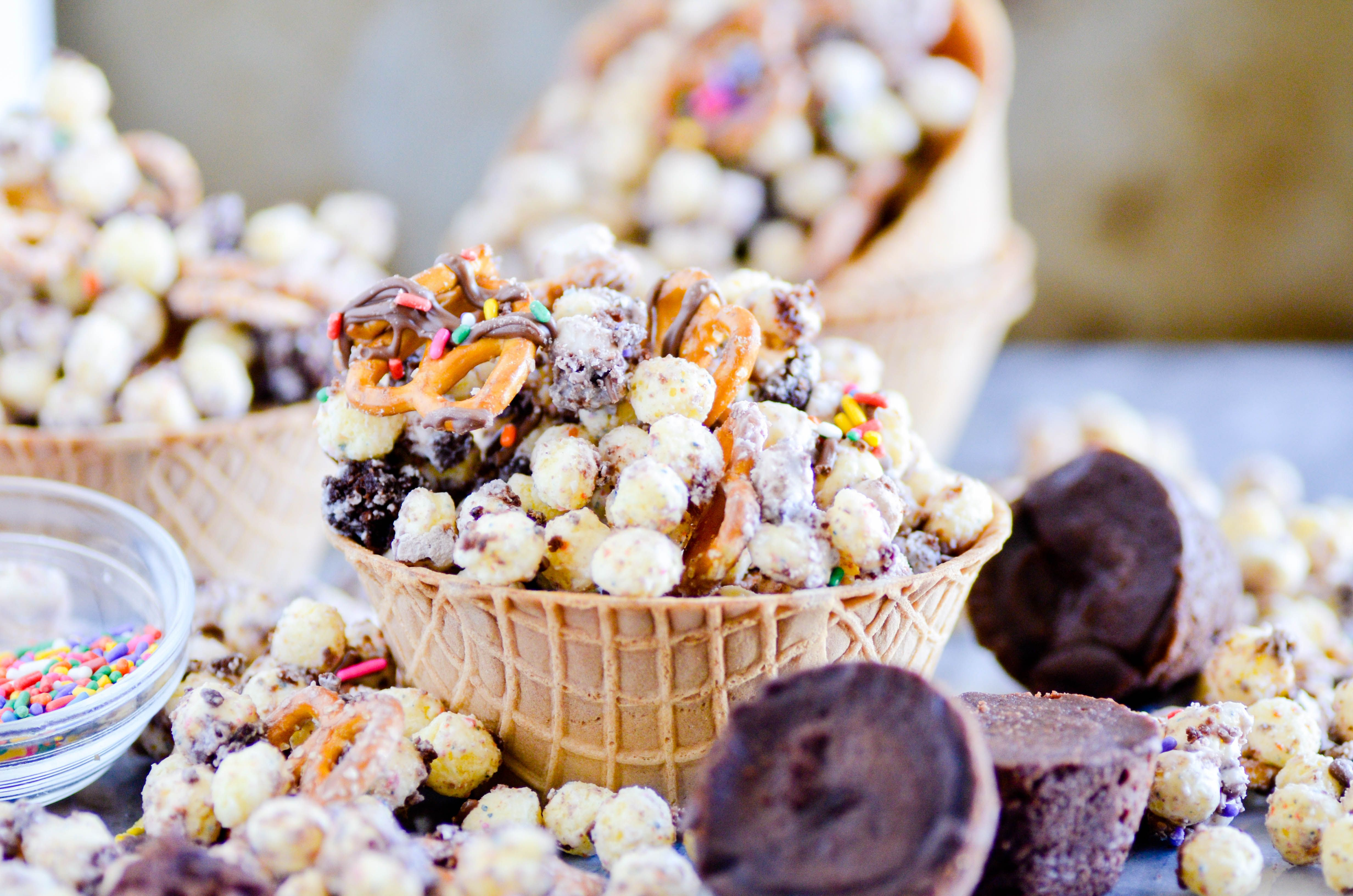Birthday cake remix snack mix with brownies and white