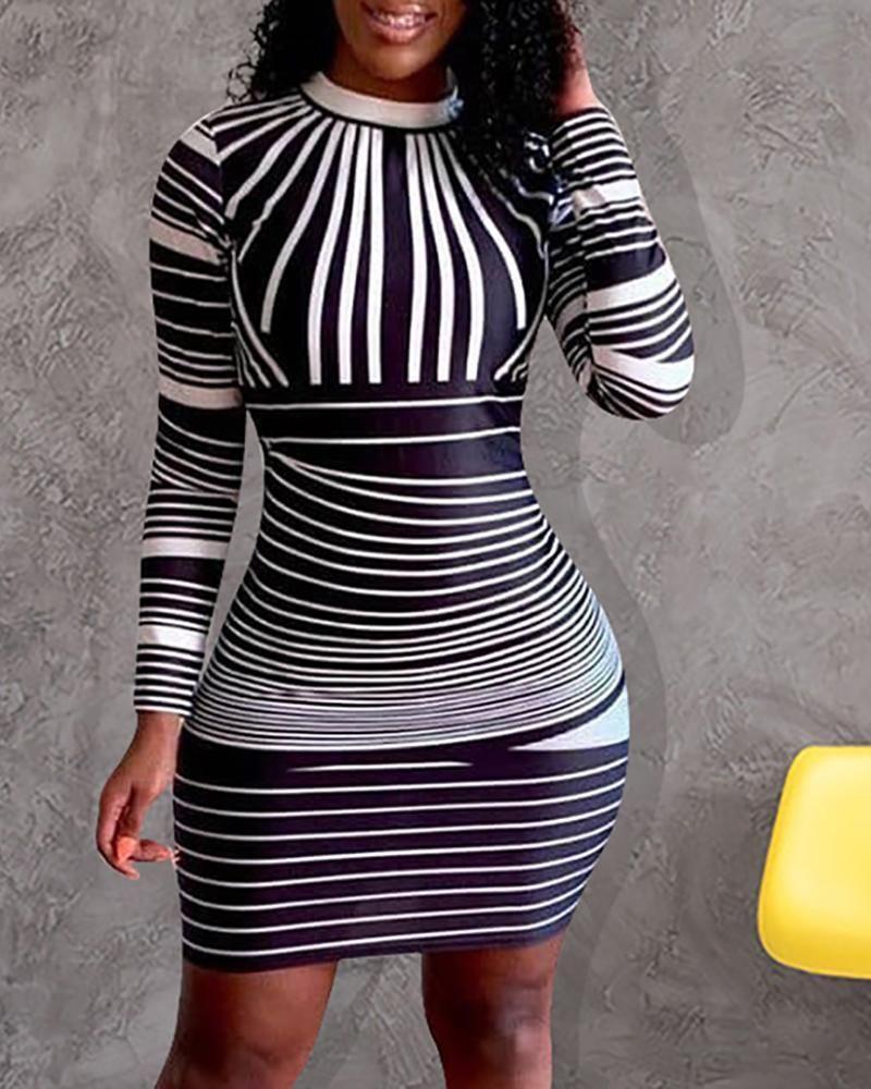 Long Sleeve Colorblock Striped Bodycon Dress Bodycon Dress Parties Striped Bodycon Dress Bodycon Dress [ 1000 x 800 Pixel ]