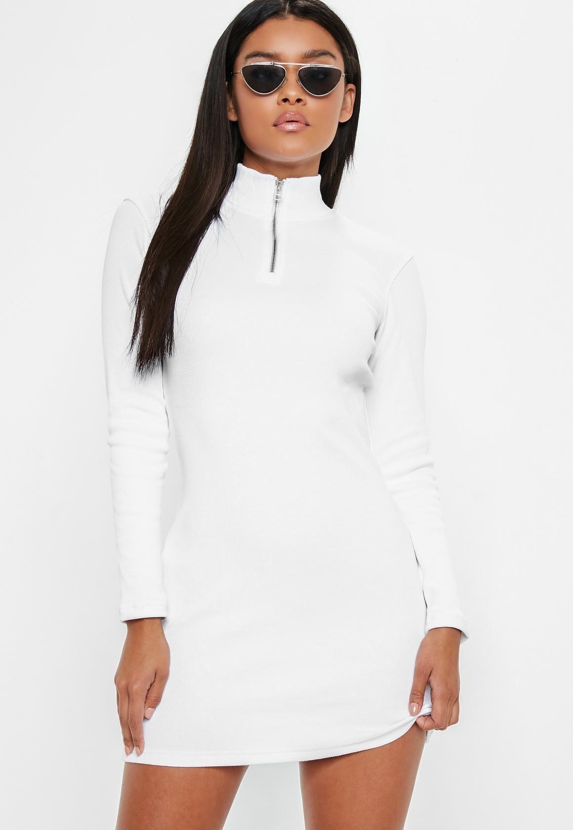 00d68fbbdd47 Missguided - White Zip Front Bodycon Mini Dress | My Closet ...