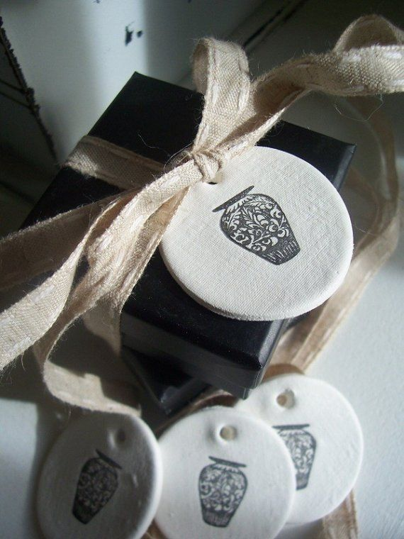 Ginger Jar Clay Mini Tags set of 4 by marleyandlockyer on Etsy, $10.00