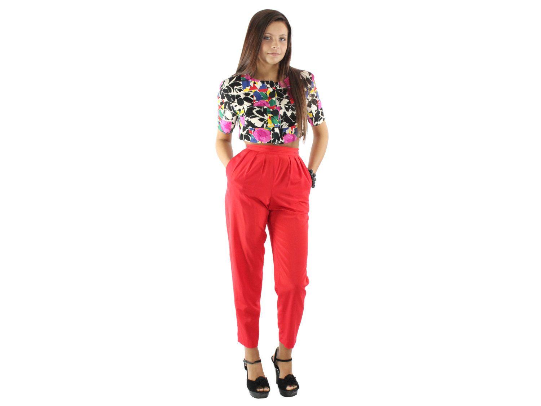 e058e1d1 $42 80's High Waisted Pants Pleated Trousers Slacks Bright Red ...
