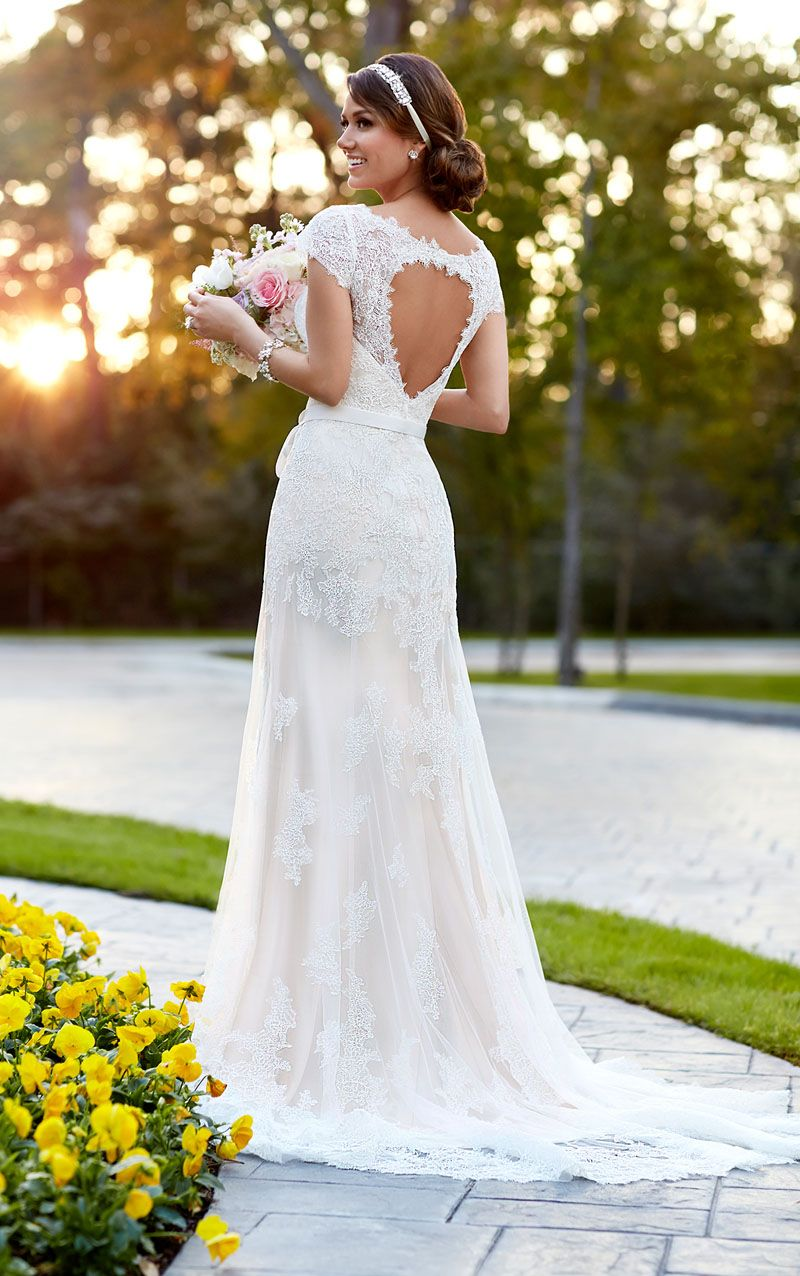 Heart Shaped Cut Open Back Cap Sleeve A Line Crafted Lace Wedding Dress