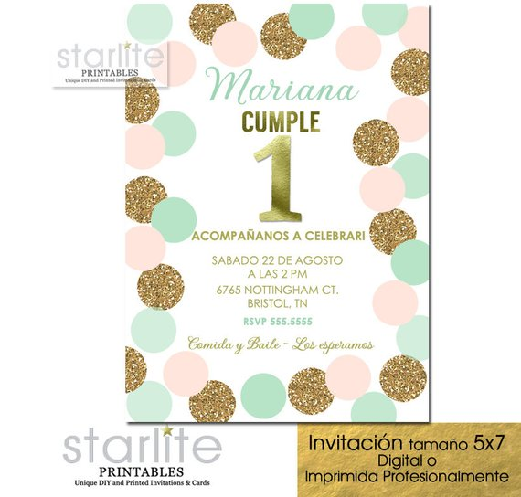 Spanish 1st Birthday Invitation Girl Invitacion Primer Cumpleanos Nina Gir