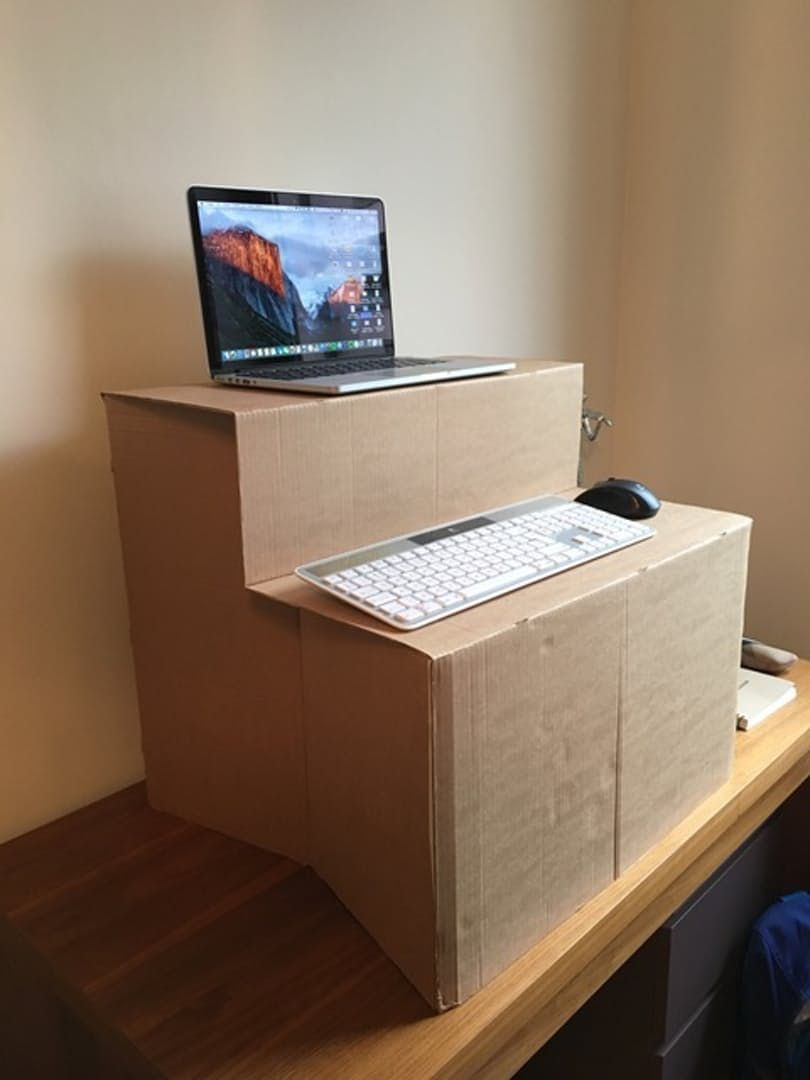 Desk kickstand furniture - Diy Standing Desk Make Your Own Cardboard Standing Desk Mac Standing Desks