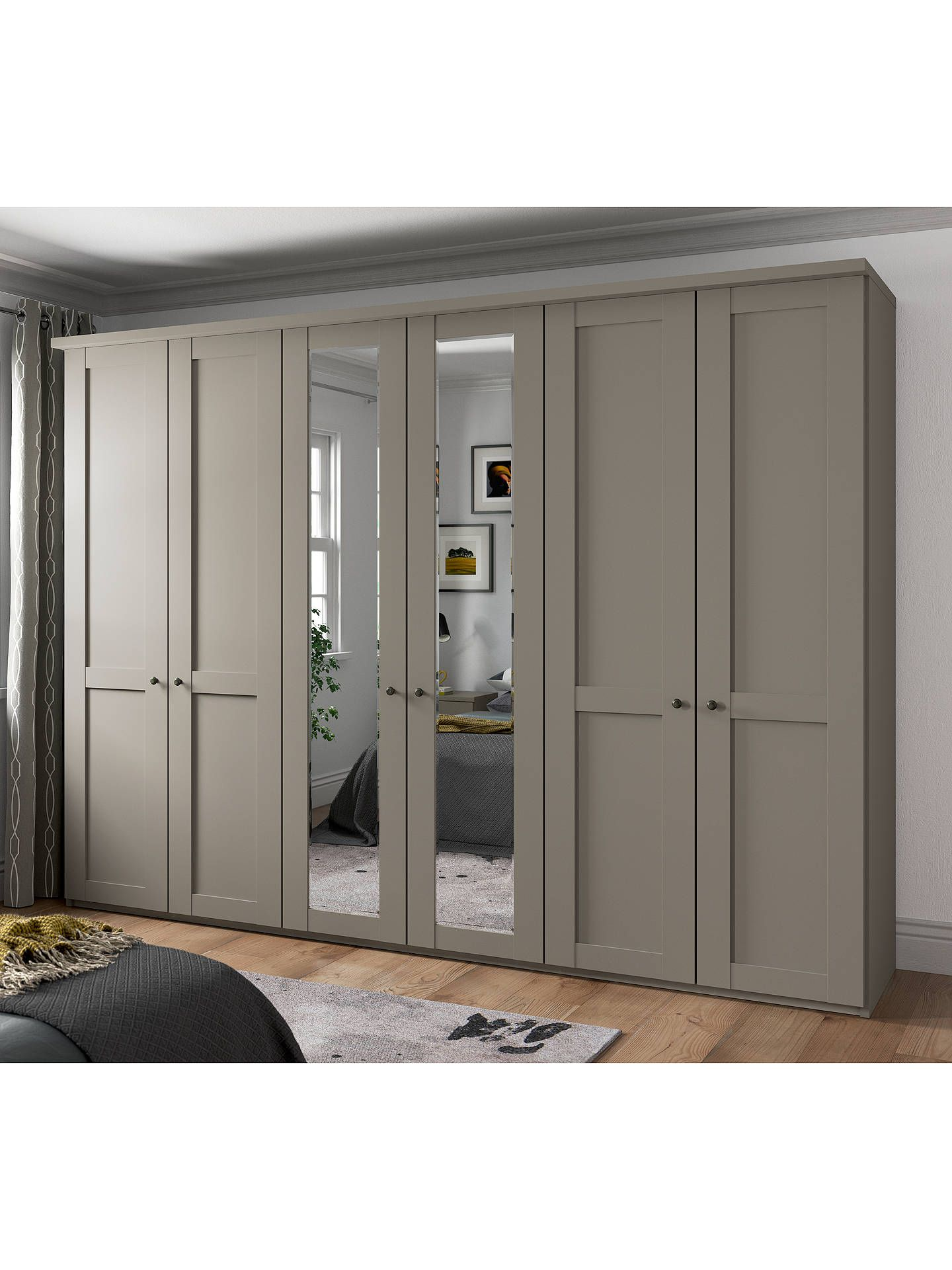 John Lewis & Partners Marlow 300cm Mirrored Hinged Wardrobe, Pebble Grey