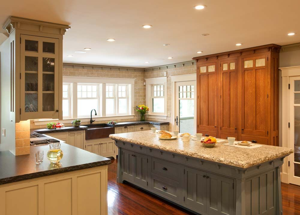 White Granite Next To A Stained Cabinet Also Options For