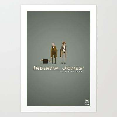 Pixel Art Indiana Jones Art Print by LoweakGraph - $18.00