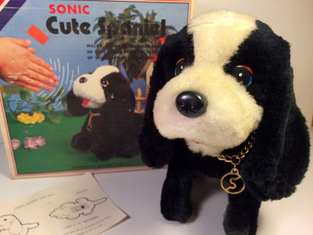 Vintage Battery Operated Toy Dog Sonic Cute Spaniel Original Box