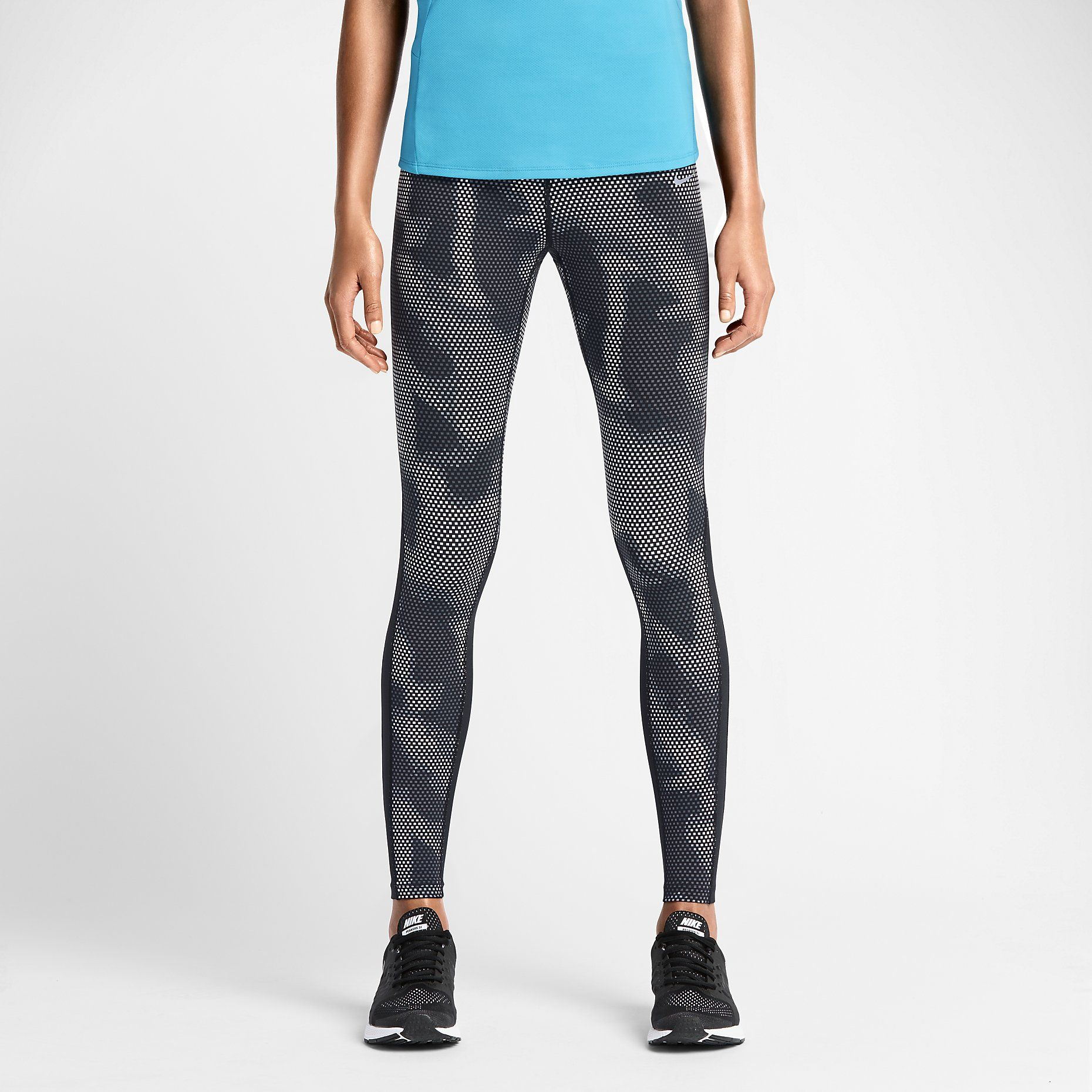 Nike Epic Lux printed women's running tights with sleek Dri-FIT fabric and  mesh panels behind your knees provide optimal ventilation. Black, white,  and grey ...