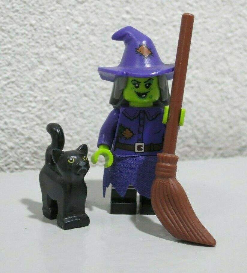 New Genuine LEGO Wacky Witch Minifig with Broom and Black Cat Series 14 71010