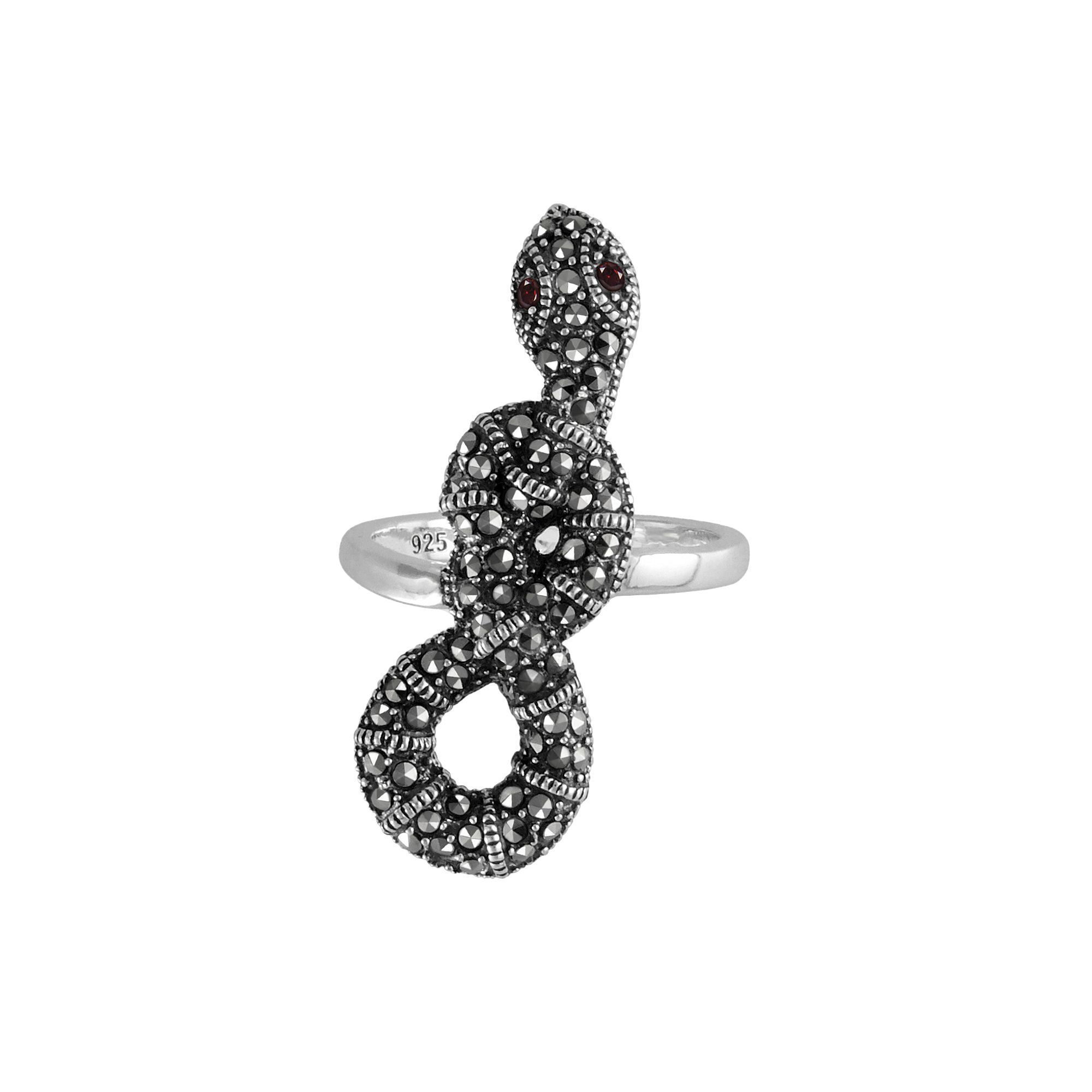 2ee0d7dd6 Lavish by TJM Sterling Silver Garnet Snake Ring - Made with Swarovski  Marcasite, Women's, Size: 6, Red