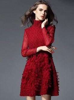 Sweet Stereoscopic Petal Patch Dress