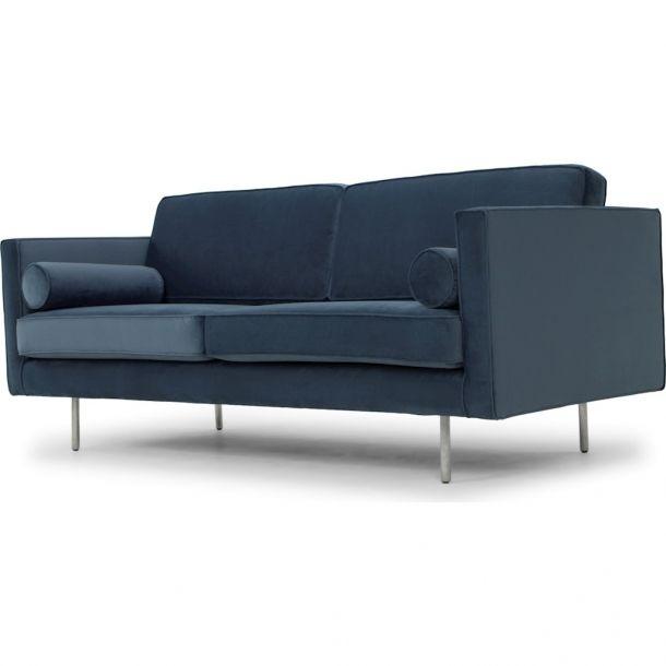 Cyrus Triple Seat Sofa In Dusty Blue Fabric Seat | Modern ...
