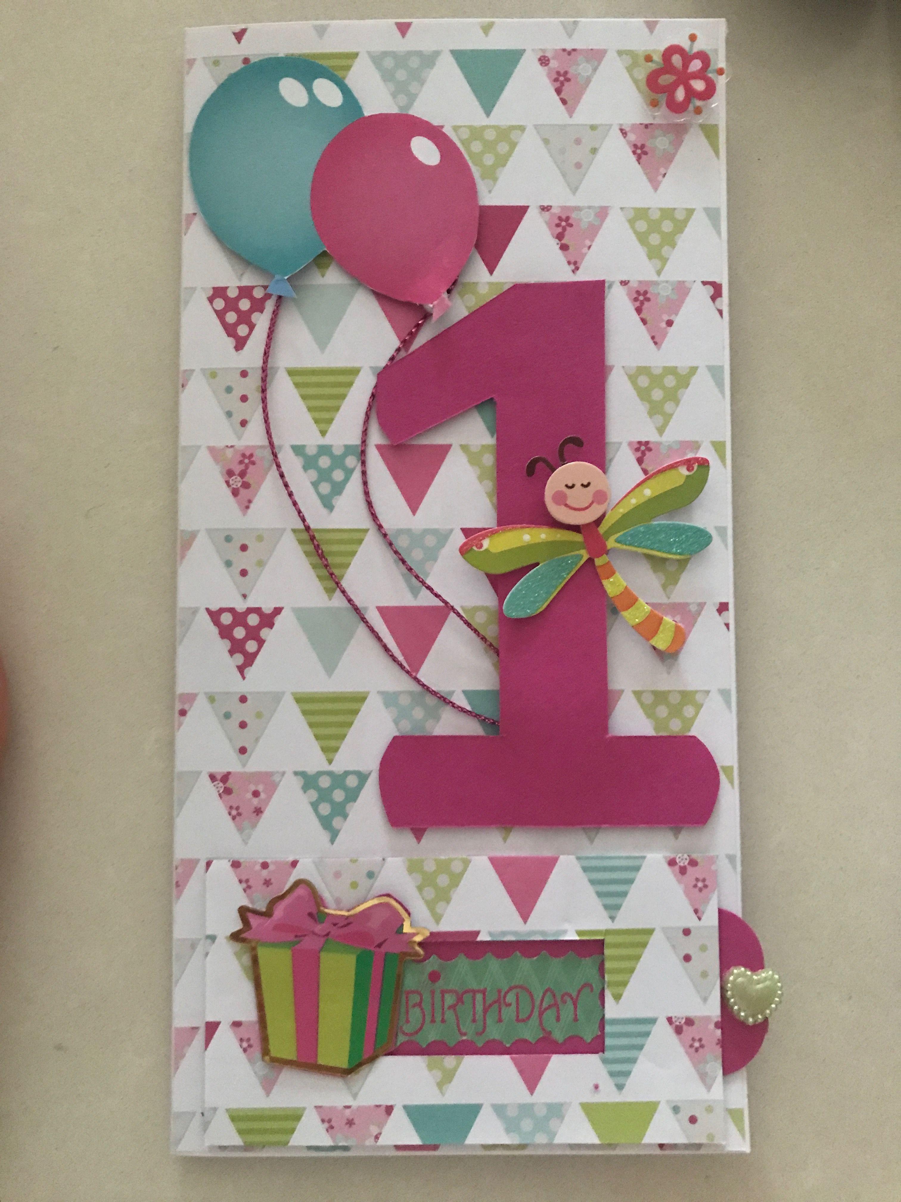 1st Birthday Card Girl Handmade First Birthday Cards Birthday Card Craft Cards Handmade