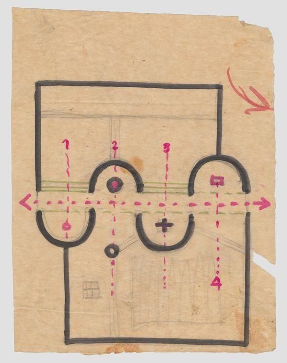 Aldo van Eyck, origineel plan beeldenpaviljoen Kroller Muller museum, Otterlo 1965-1966