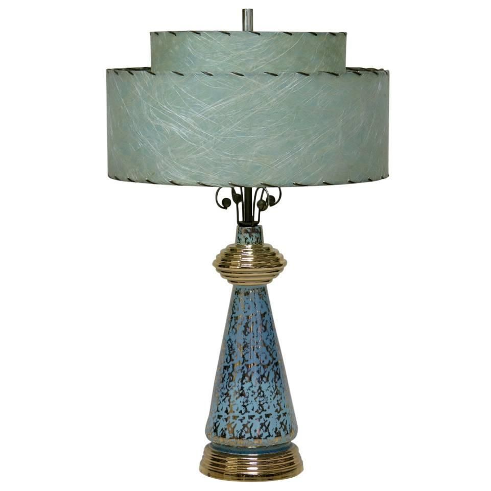 Pair Of Gold Speckled Porcelain Lamps With Paper Shades Usa 1950s Lamp Porcelain Lamp Table Lamp