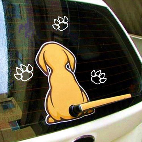 Funny yellow pet dog with a wagging tail sticker car window wiper decal 28 5cm