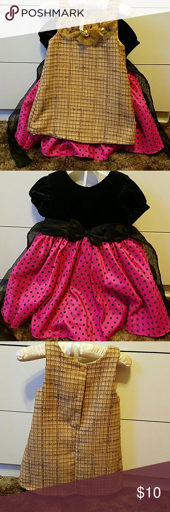 toddler girl dresses pink and black dress velvet top and gold