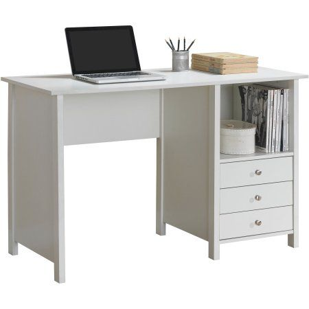 Techni Mobili Contempo Desk With 3 Storage Drawers White Walmart Com Desk With Drawers Writing Desk With Drawers Desk Storage