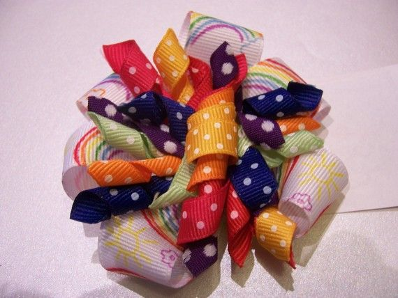*    Rainbows in the Sky - Boutique Korker Hairbow