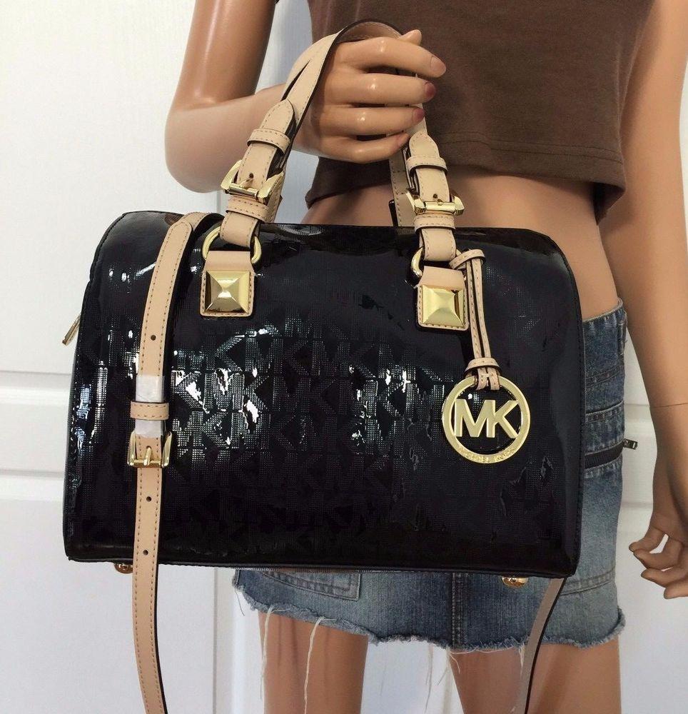 cd4a9cc56e8e31 Michael Kors MK Signature Medium Satchel Grayson Mirror Tote Handbag Bag  Black #MichaelKors #ShoulderBag