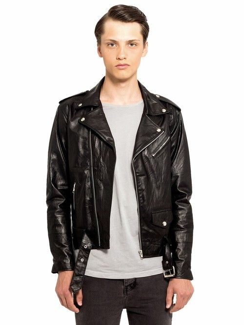 Mens Biker Jacket Black // Deadwood Leather // Recycled leather