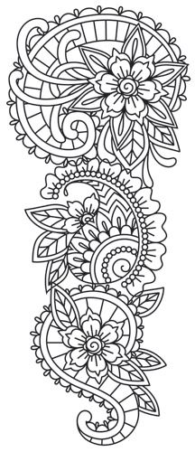 Mendhika Sleeve - really cool design, reminds me of henna tattoos with the flowers and leaves and swirly designs