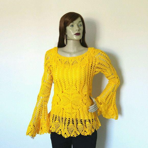 42a42a26e9 Blusa de crochê amarela manga flare no Elo7