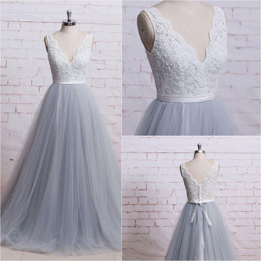 Grey tulle vneckline long prom dresses grey wedding gowns formal