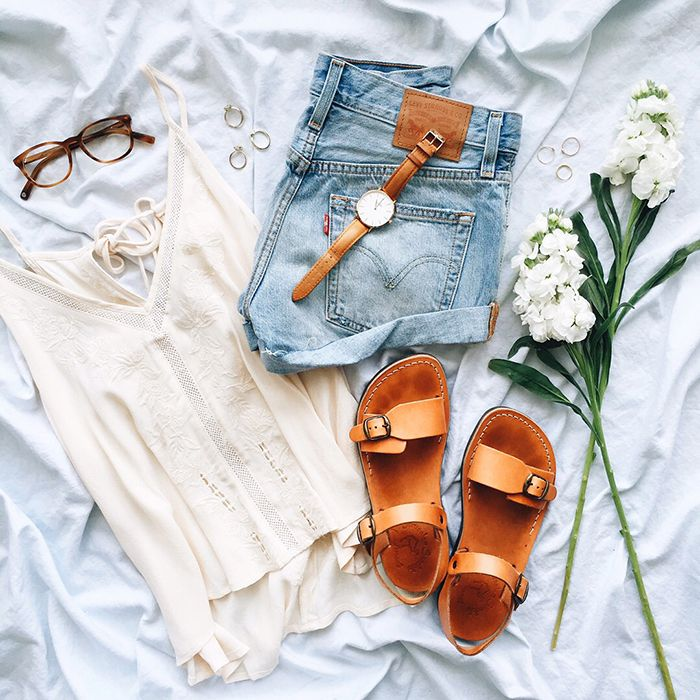 ea75c76497cf livvyland-blog-olivia-watson-austin-texas-fashion-blogger-flat-lay -boho-warby-parker-lyle-glasses-jerusalem-sandals-levis-cut-off-shorts- outfit
