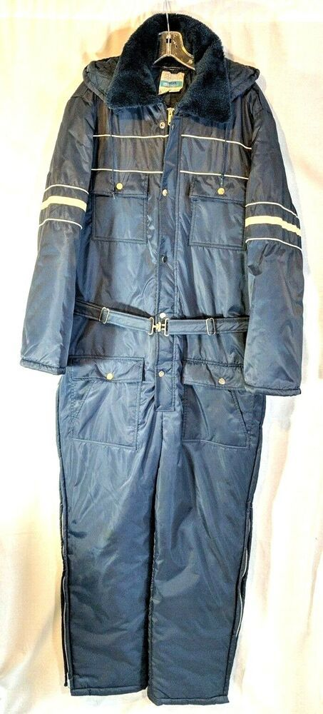 vtg sears work leisure hooded snowsuit winter quilted on men s insulated coveralls with hood id=89024
