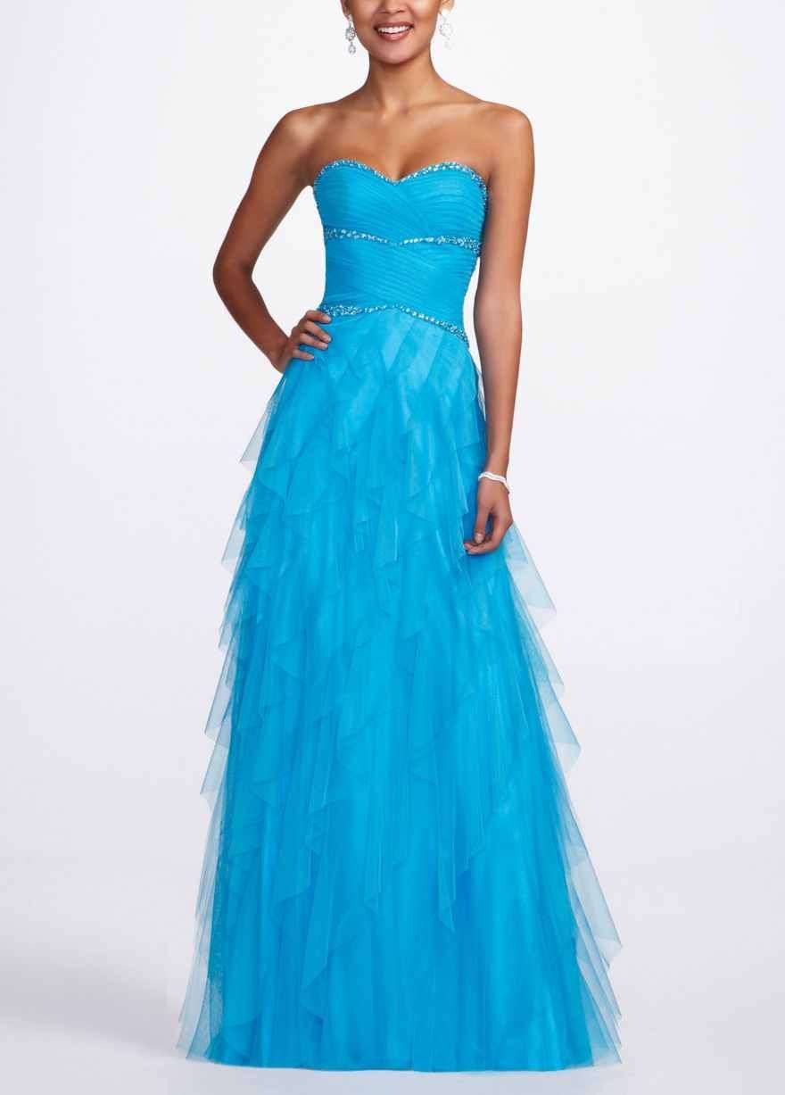 Gorgeous teal strapless prom dress with silver accents | dresses ...
