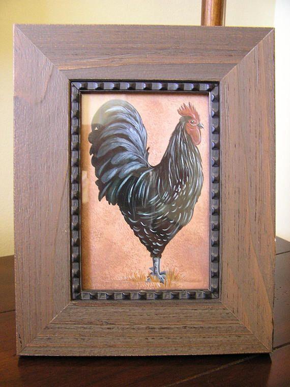 Rustic Rooster Art Framed Prints