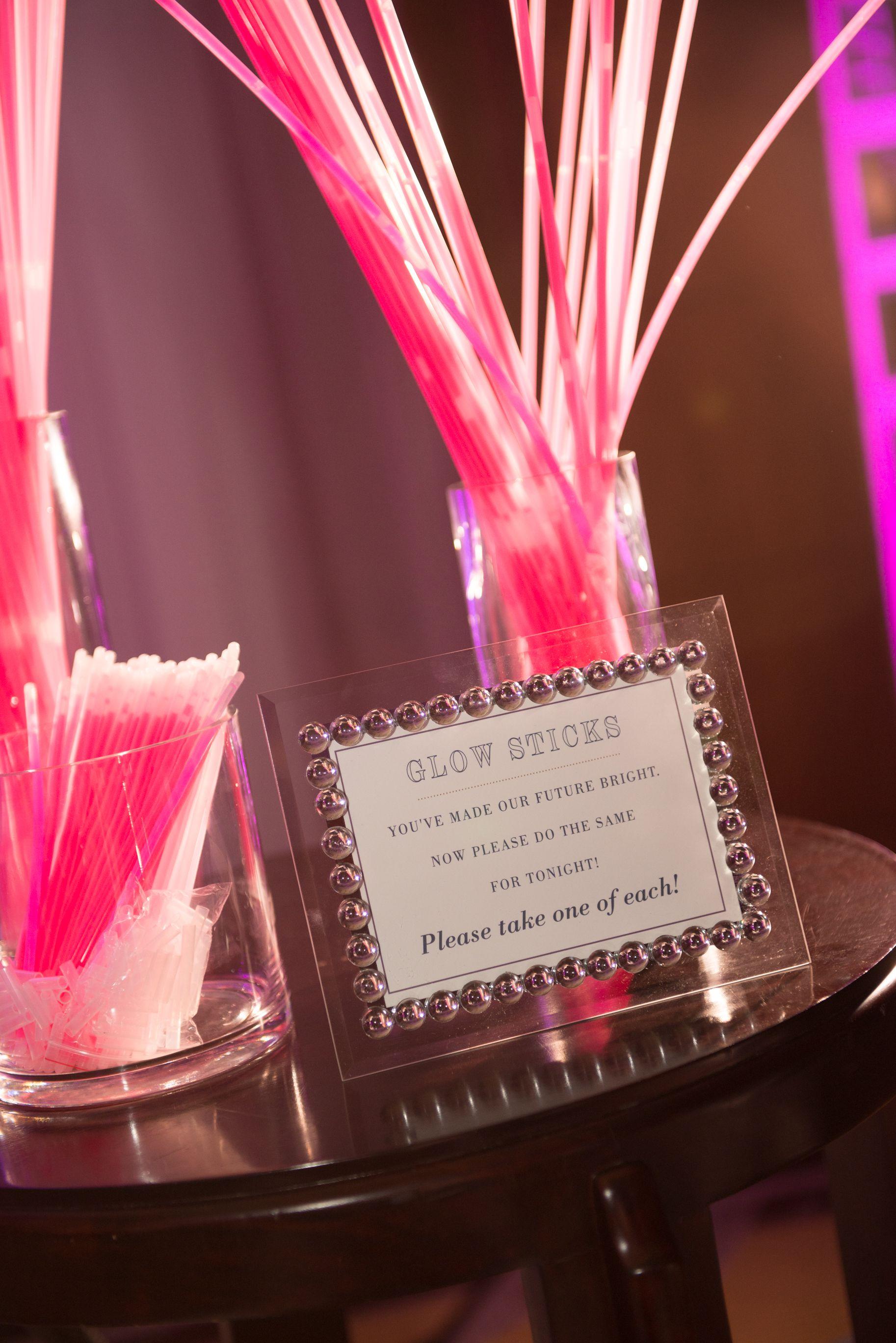 Purple Wedding Glow Sticks & Sign Glow stick wedding