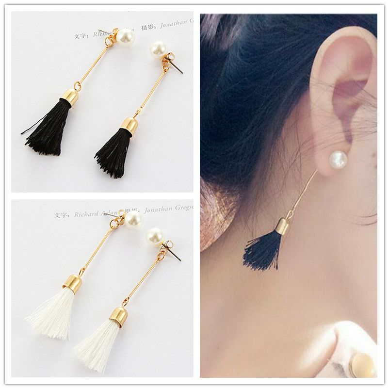 EK979 New 2017 Brincos Earing Bijoux Fringed Cotton Thread Stud Earrings For Women Wedding Jewelry Earings Accessories