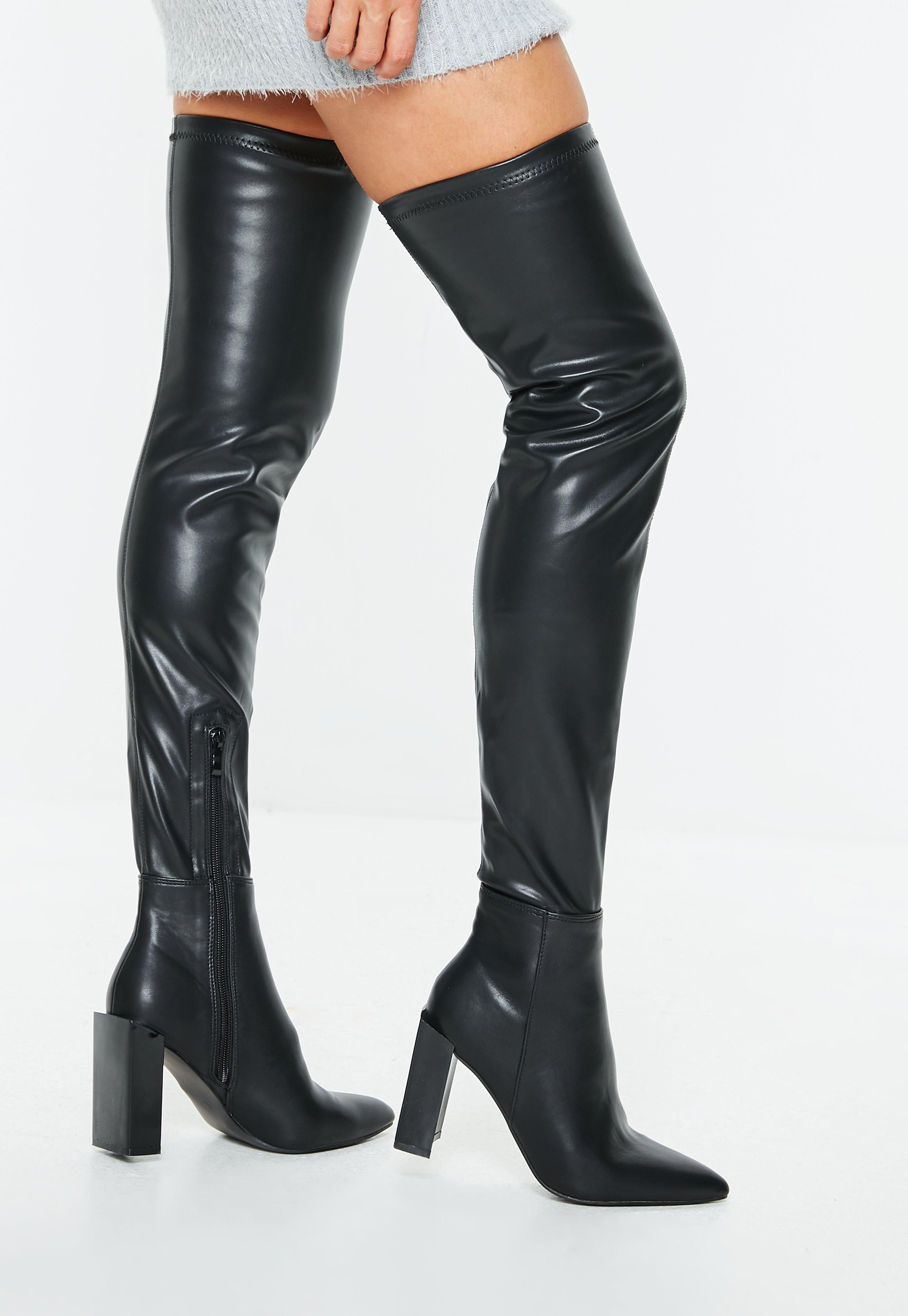 14a0bc2b84a black-faux-leather-knee-high-heeled-boots | Winter Warmers | Black ...