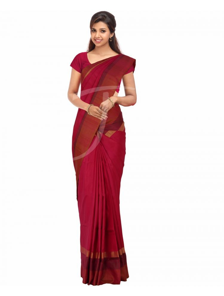 Soft Silk Dual Tone Magenta And Onion Pink Colour Saree With Multi Borders