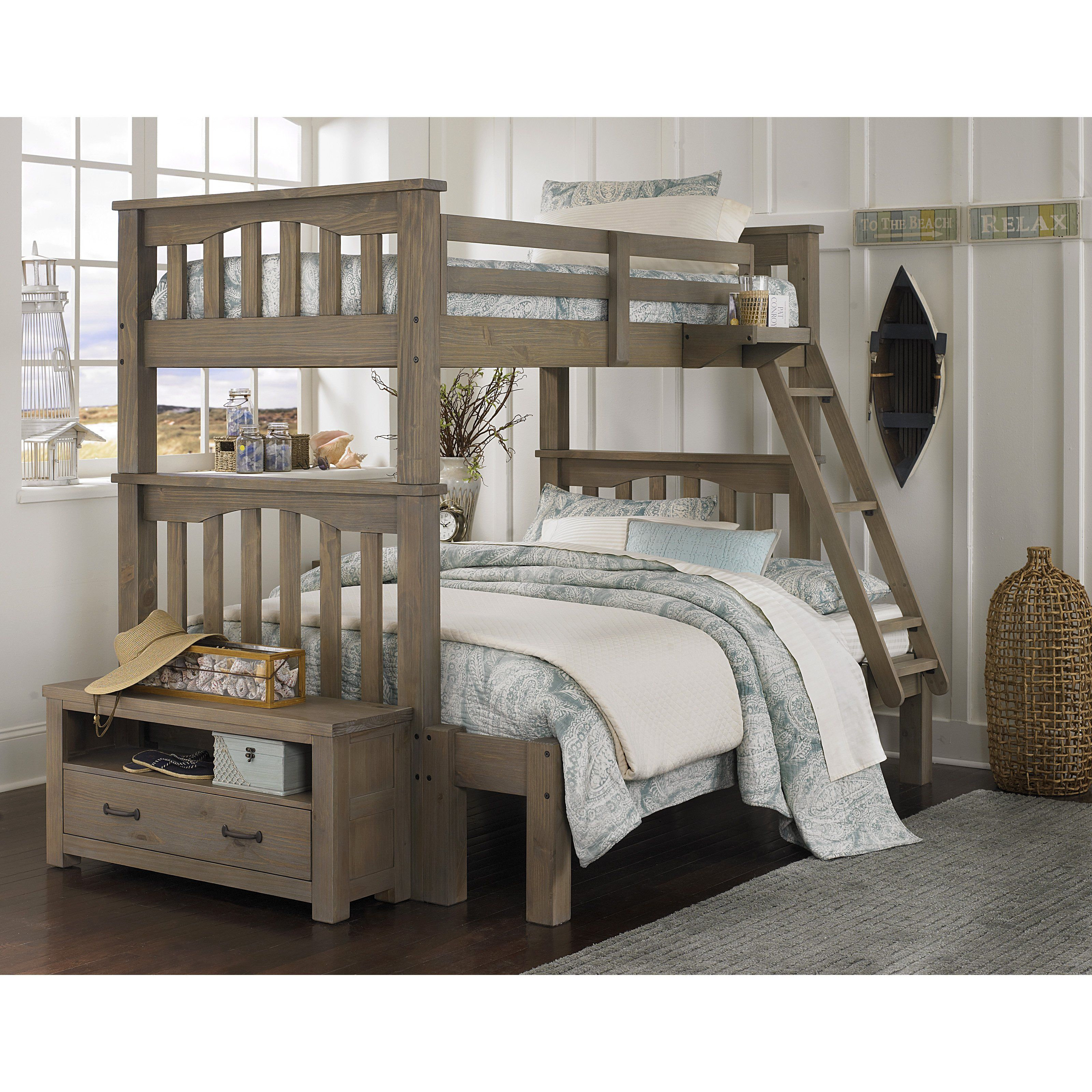 Tall loft bed with slide  Have to have it Highlands Harper Twin over Full Bunk Bed
