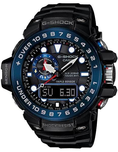 b4ddbafd26ef Casio Mens G-Shock Gulfmaster Atomic - Black   Blue- Triple Sensor ...