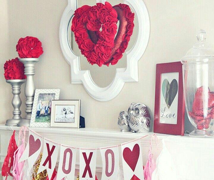 Valentine Mantel Valentines Mantle Valentine S Day Diy Valentine Decorations