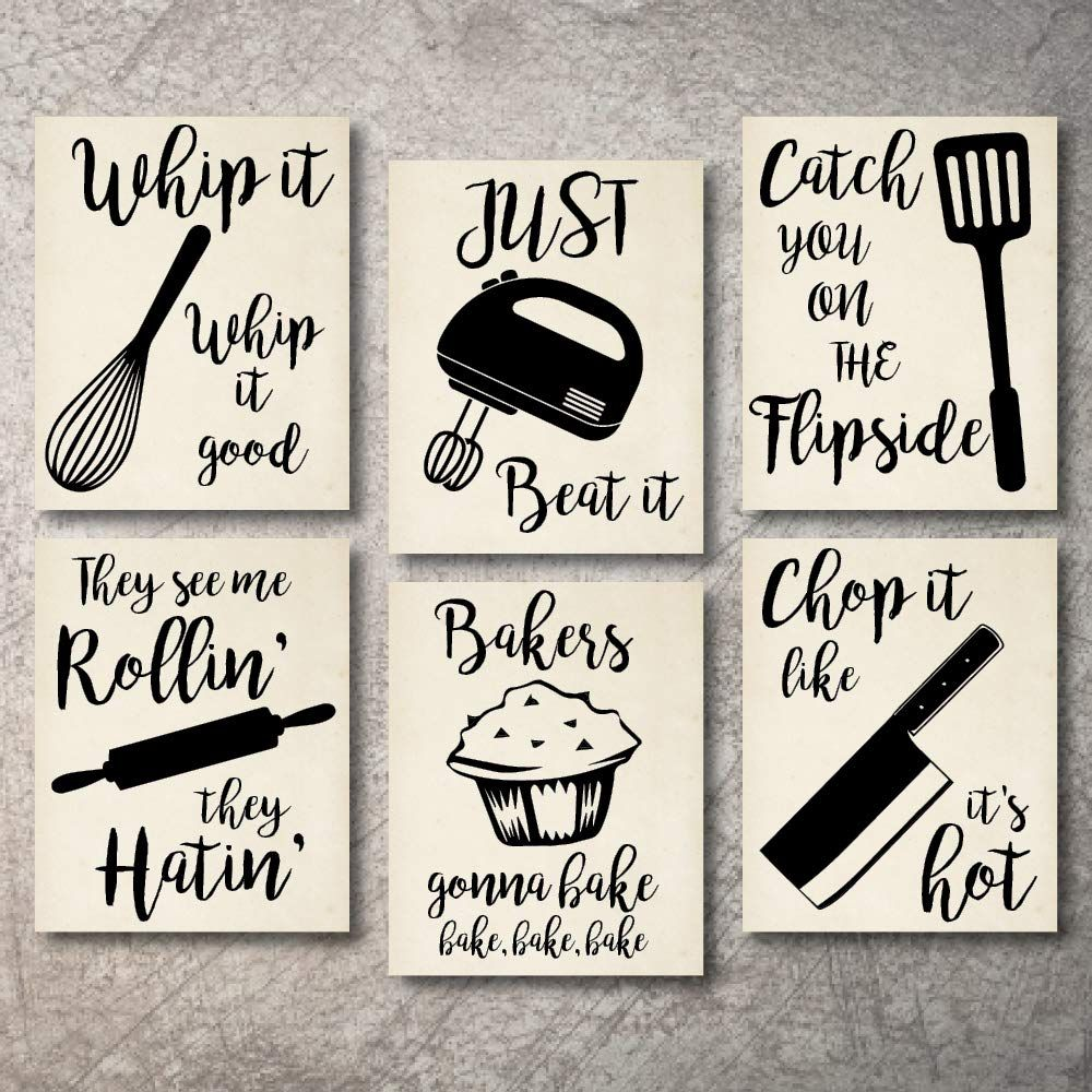Home Decor Funny Gift 6 Kitchen Wall Art Prints Kitchenware With Sayings Unframed Farmhouse Home Office Or With Images Kitchen Wall Art Kitchen Decor Signs Kids Wall Decor